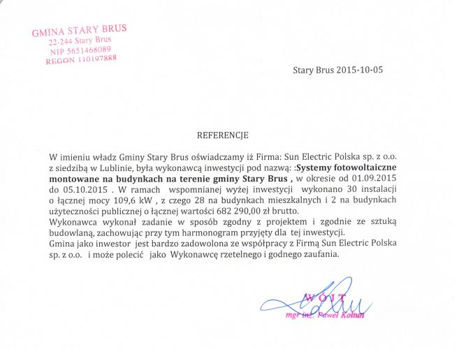 Referencje Stary Brus